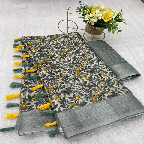 Original Linen Digital Print Sarees