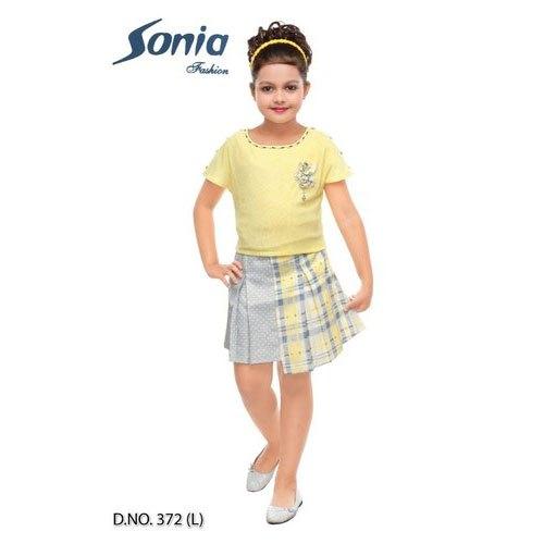 Kids Designer Check Skirt Top Set